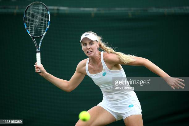 Naomi Broady of Great Britain plays a forehand during her singles match against Kristie Ahn of The United States during qualifying prior to The...