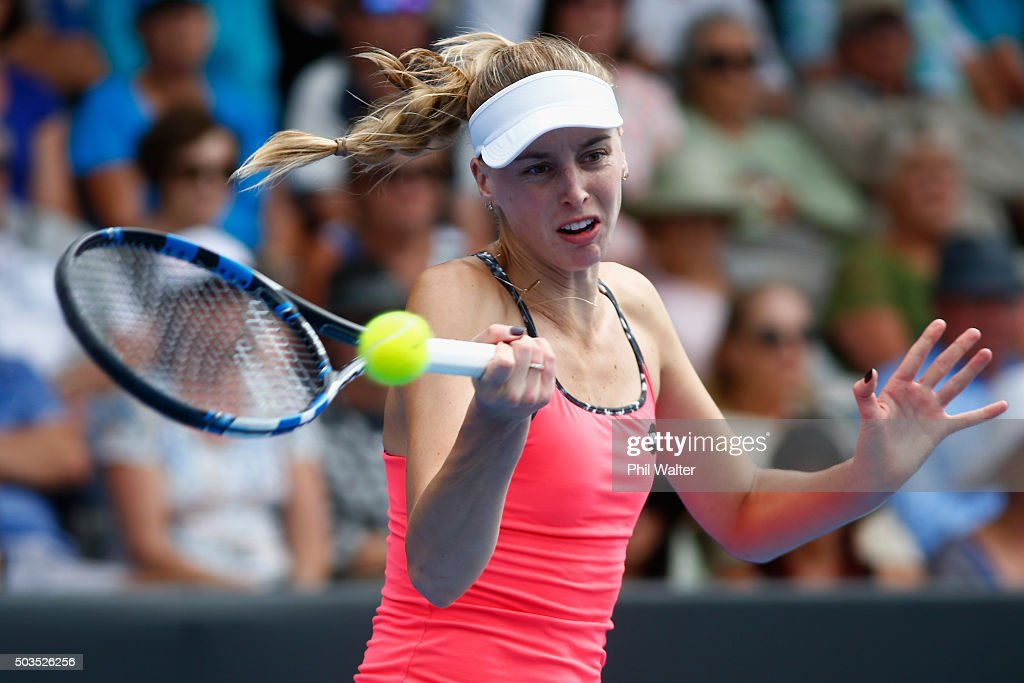 Naomi Broady of Great Britain plays a forehand during her singles match against Jelena Ostapenko of Latvia during day three of the 2016 ASB Classic at ASB Tennis Arena on January 6, 2016 in Auckland, New Zealand.