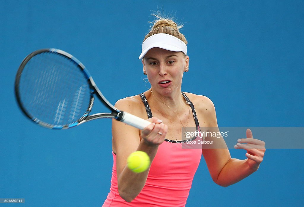 Naomi Broady of Great Britain plays a forehand in his her match against Alize Lim of France during the first round of 2016 Australian Open Qualifying at Melbourne Park on January 14, 2016 in Melbourne, Australia.