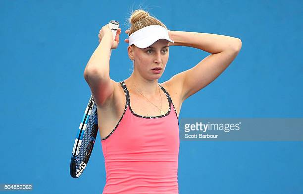 Naomi Broady of Great Britain reacts in her match against Alize Lim of France during the first round of 2016 Australian Open Qualifying at Melbourne...