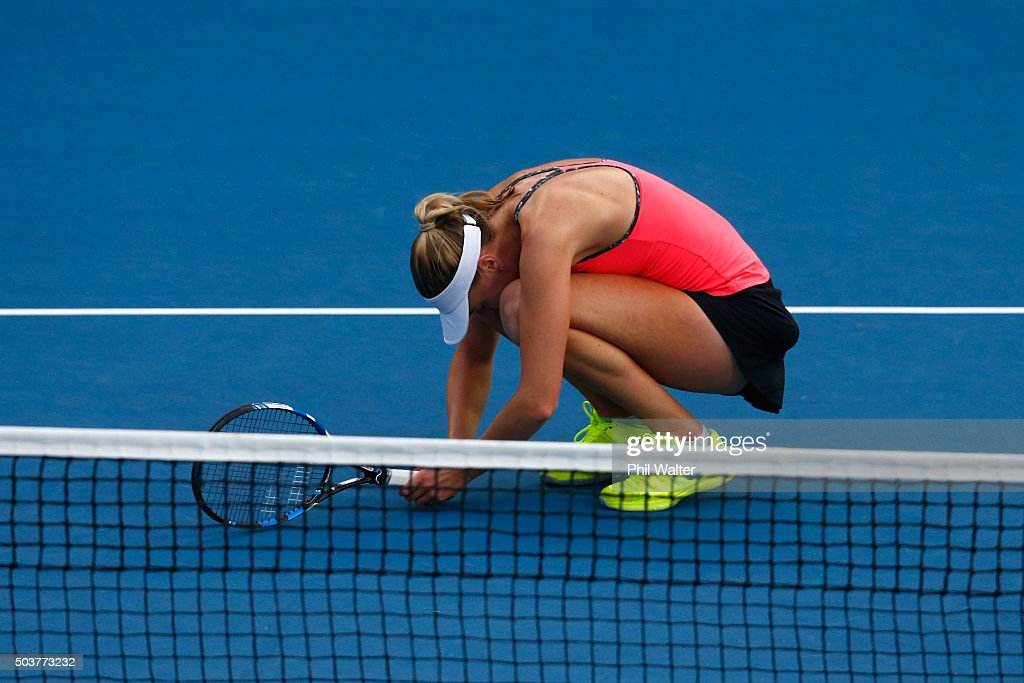 Naomi Broady of Great Britain reacts in her singles match against Sloane Stephens of the USA during day four of the 2016 ASB Classic at ASB Tennis Arena on January 7, 2016 in Auckland, New Zealand.