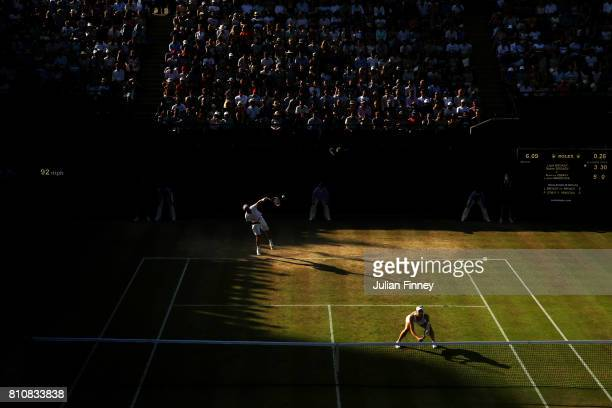 Naomi Broady of Great Britain serves during the Mixed Doubles first round match with Liam Broady of Great Britain against Roman Jebavy of the Czech...
