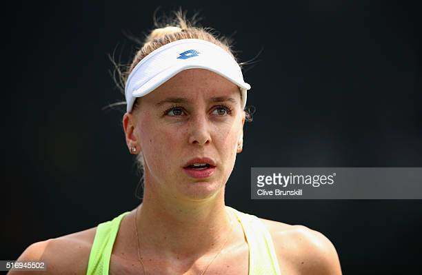 Naomi Broady of Great Britain shows her dejection in her final qualifying round match against Aliaksandra Sasnovich of Belarus during the Miami Open...