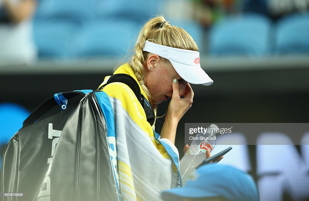 Naomi Broady of Great Britain shows her emotion as she leaves the court after her defeat in her first round match against Daria Gavrilova of Australia on day two of the 2017 Australian Open at Melbourne Park on January 17, 2017 in Melbourne, Australia.