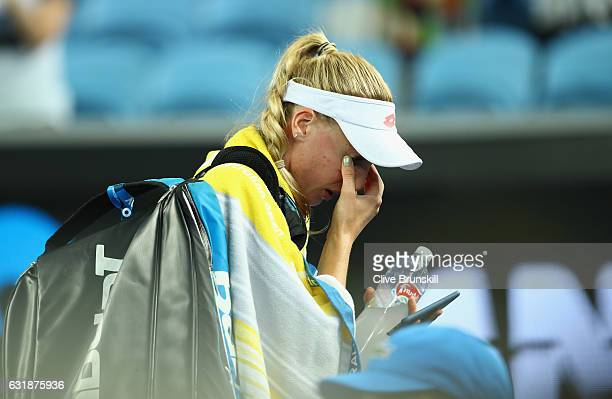 Naomi Broady of Great Britain shows her emotion as she leaves the court after her defeat in her first round match against Daria Gavrilova of...