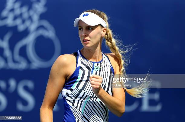 Naomi Broady of Union Jacks celebrates in her singles match against Emma Raducanu of British Bulldogs during day seven of the St James's Place Battle...