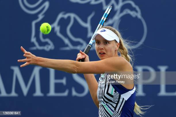 Naomi Broady of Union Jacks plays a forehand in her singles match against Emma Raducanu of British Bulldogs during day seven of the St James's Place...