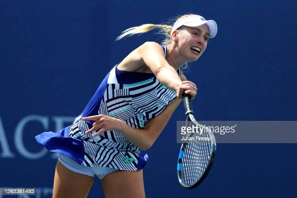 Naomi Broady of Union Jacks serves in her singles match against Emma Raducanu of British Bulldogs during day seven of the St James's Place Battle Of...
