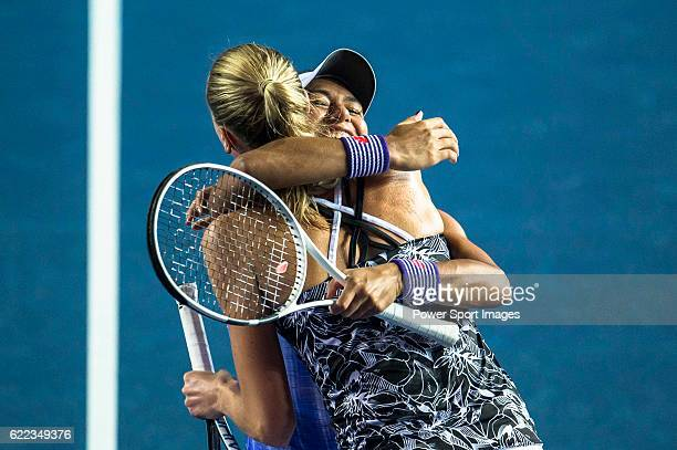 Naomi Broady of United Kingdom and Heather Watson of United Kingdom celebrate after winning the Doubles Semi Finals match against Nao Hibino of Japan...