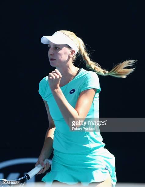Naomi Broady of United Kingdom celebrates a point during her first round match against Kathinka Von Deichmann of Liechtenstein during 2018 Australian...