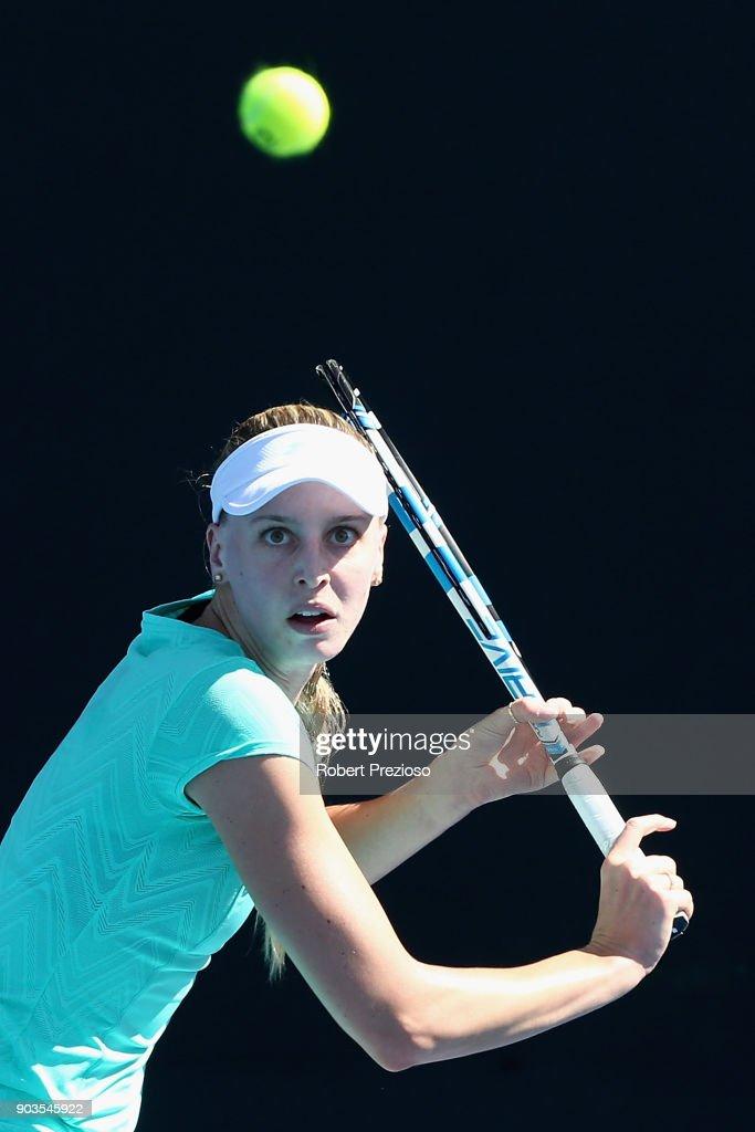 Naomi Broady of United Kingdom competes in her first round match against Kathinka Von Deichmann of Liechtenstein during 2018 Australian Open Qualifying at Melbourne Park on January 11, 2018 in Melbourne, Australia.