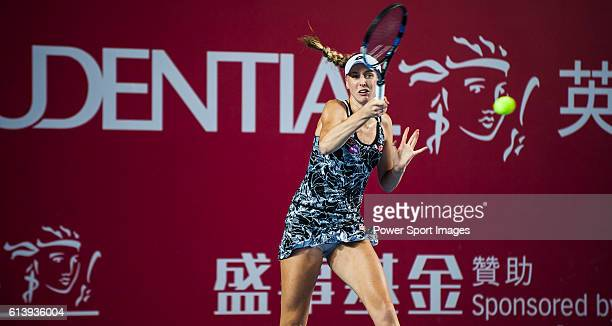 Naomi Broady of United Kingdom in action against Johanna Konta of United Kingdom during their Singles Round 1 match at the WTA Prudential Hong Kong...