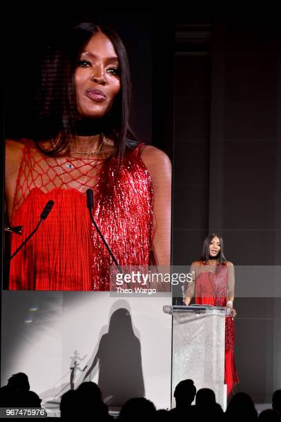 Naomi Campbell accepts the 2018 CFDA Fashion Icon Award onstage during the 2018 CFDA Fashion Awards at Brooklyn Museum on June 4 2018 in New York City