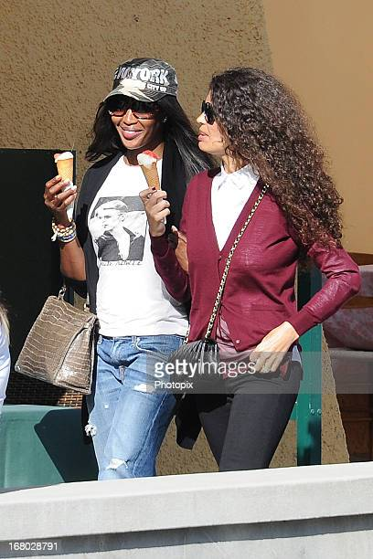 Naomi Campbell and Afef Jnifen enjoy gelato on May 4 2013 in Portofino Italy