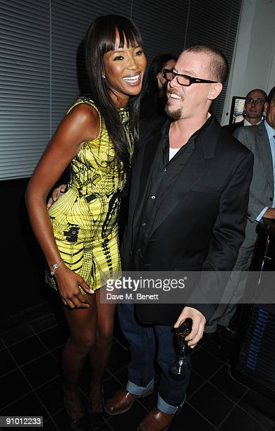 Naomi Campbell and Alexander McQueen attend the private dinner hosted by editor of British Vogue Alexandra Shulman in association with NetAPortercom...
