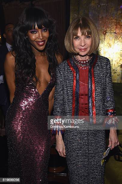 Naomi Campbell and Anna Wintour attends as Marc Jacobs Benedikt Taschen celebrate NAOMI at The Diamond Horseshoe on April 7 2016 in New York City