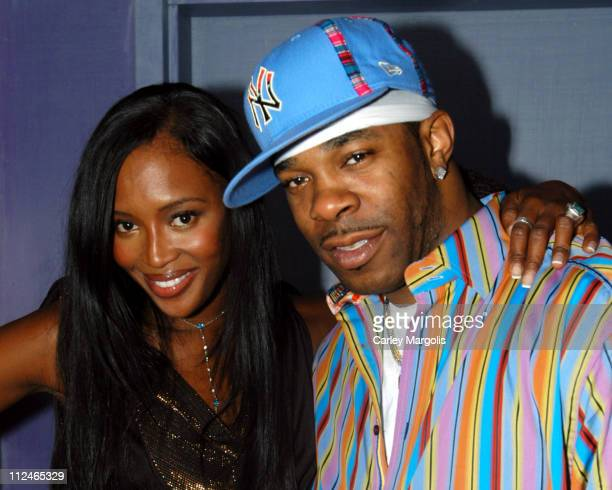 Naomi Campbell and Busta Rhymes during Naomi Campbell Cohosts Sky Wednesdays at The 40/40 Club February 9 2005 at The 40/40 Club in New York City New...
