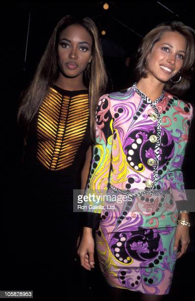 Naomi Campbell and Christy Turlington during Haimoff - Grubman Wedding Reception - October 12, 1991 at New York Public Library in New York City, New...