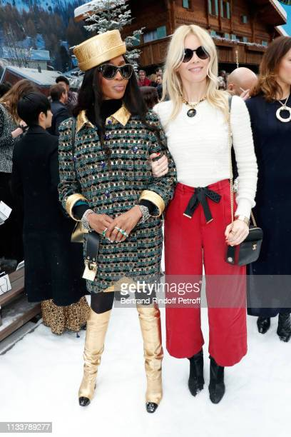 Naomi Campbell and Claudia Schiffer attend the Chanel show as part of the Paris Fashion Week Womenswear Fall/Winter 2019/2020 on March 05 2019 in...