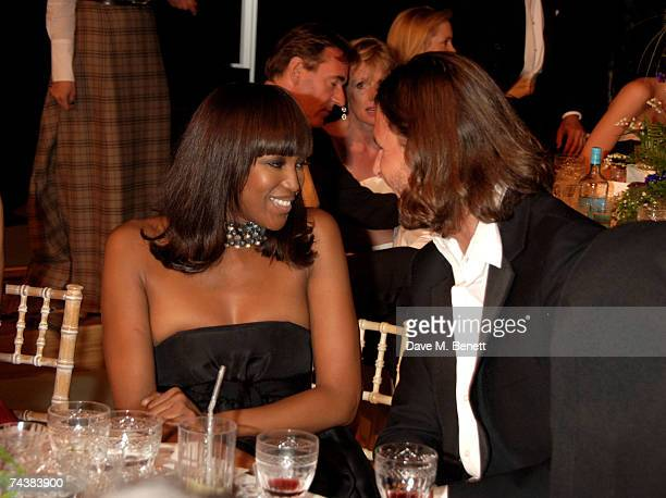 Naomi Campbell and David de Rothschild attend the Raisa Gorbachev Foundation Party at Stud House Hampton Court Palace on June 2 2007 in Richmond upon...