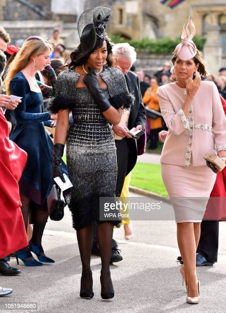 Naomi Campbell and Debbie von Bismarck arrive ahead of the wedding of Princess Eugenie of York to Jack Brooksbank at Windsor Castle on October 12...