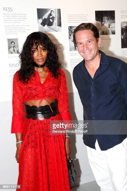 Naomi Campbell and Director of Alaia Eric Vallat attend L'Alchimie secrete d'une collection The Secret Alchemy of a Collection Exhibition Preview at...