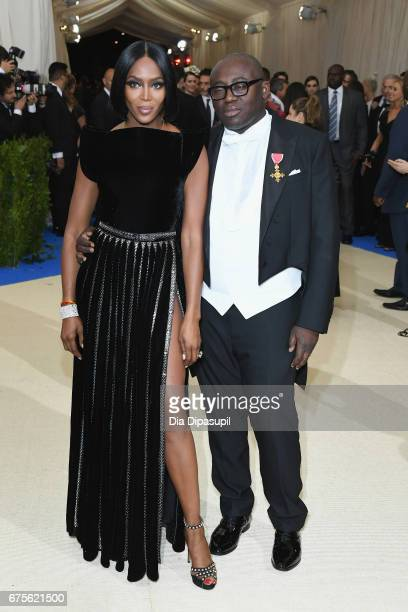 Naomi Campbell and Edward Enninful attend the Rei Kawakubo/Comme des Garcons Art Of The InBetween Costume Institute Gala at Metropolitan Museum of...
