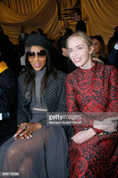 Naomi Campbell and Emily Blunt attend the Christian Dior Haute Couture Spring Summer 2018 show as part of Paris Fashion Week on January 22 2018 in...