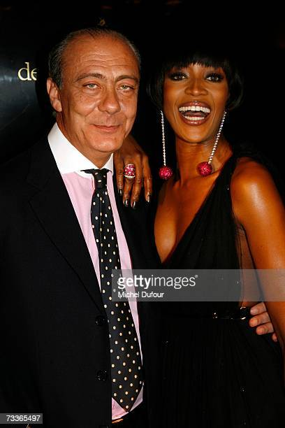 Naomi Campbell and Fawaz Gruosi attend the De Grisogono Party hosted by Fawaz Gruosi at the Park Hotel on February 17 2007 in Gstaad Switzerland