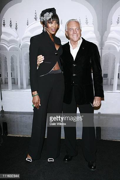 Naomi Campbell and Giorgio Armani during Giorgio Armani Prive in LA Arrivals at Green Acres in Los Angeles California United States