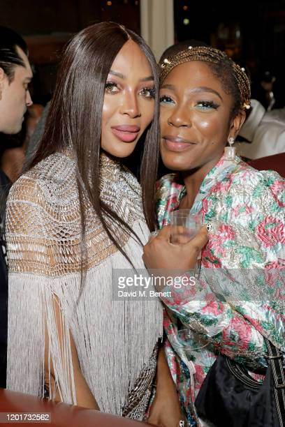 Naomi Campbell and guest attend the Warner Music CIROC BRIT Awards house party in association with GQ at The Chiltern Firehouse on February 18 2020...