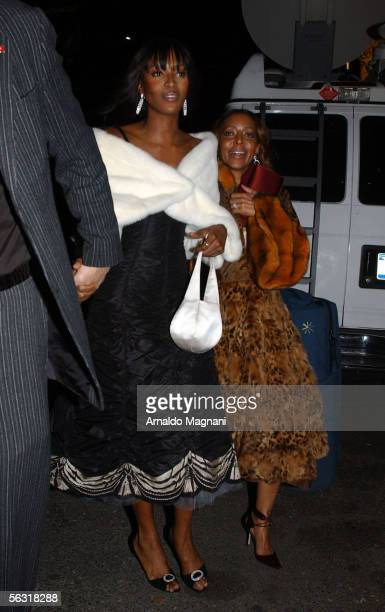 Naomi Campbell and her mother leave after attending the Broadway opening of 'The Color Purple' based on Alice Walkers Pulitzer Prizewinning novel and...