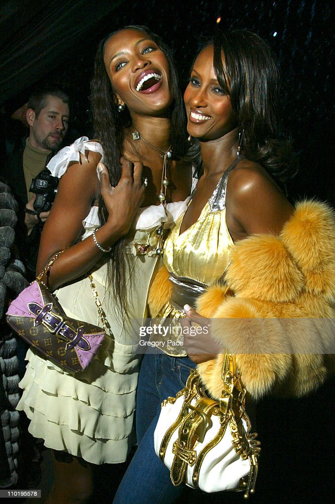 Naomi Campbell and Iman during Louis Vuitton 150th Anniversay Celebration - Inside at Louis Vuitton Tent at Lincoln Center in New York City, New York, United States.
