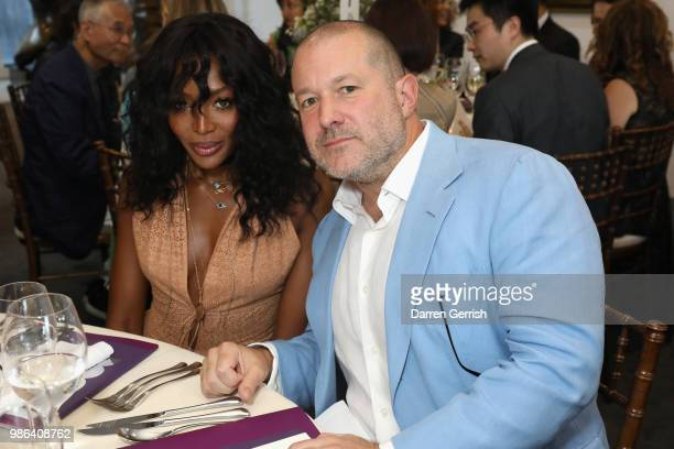 Naomi Campbell and Jony Ive attend the Chancellor's Circle Reception and Dinner at Royal College of Art on June 28 2018 in London England