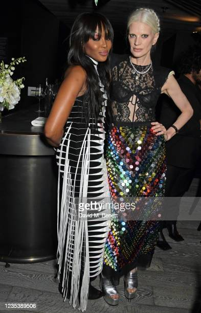 Naomi Campbell and Kristen McMenamy attend an intimate dinner and party hosted by British Vogue and Tiffany & Co. To celebrate Fashion and Film...