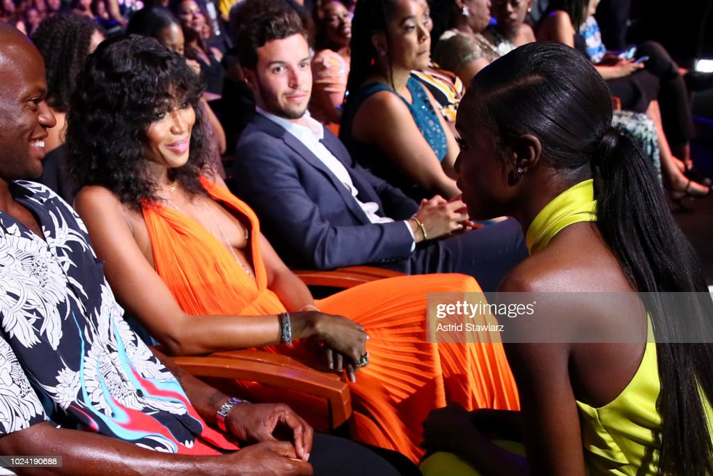 Naomi Campbell and Leomie Anderson attend the Black Girls Rock! 2018 Show at NJPAC on August 26, 2018 in Newark, New Jersey.