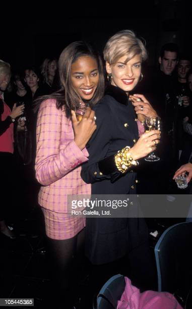 Naomi Campbell and Linda Evangelista during Yasmin Lebon's Birthday Party October 29 1990 at Falls Restaurant in New York City New York United States