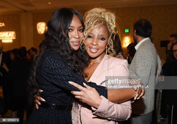 Naomi Campbell and Mary J Blige attend The BAFTA Los Angeles Tea Party at Four Seasons Hotel Los Angeles at Beverly Hills on January 6 2018 in Los...