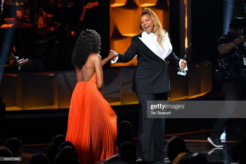 Naomi Campbell and Queen Latifah embrace onstage during the Black Girls Rock! 2018 Show at NJPAC on August 26, 2018 in Newark, New Jersey.