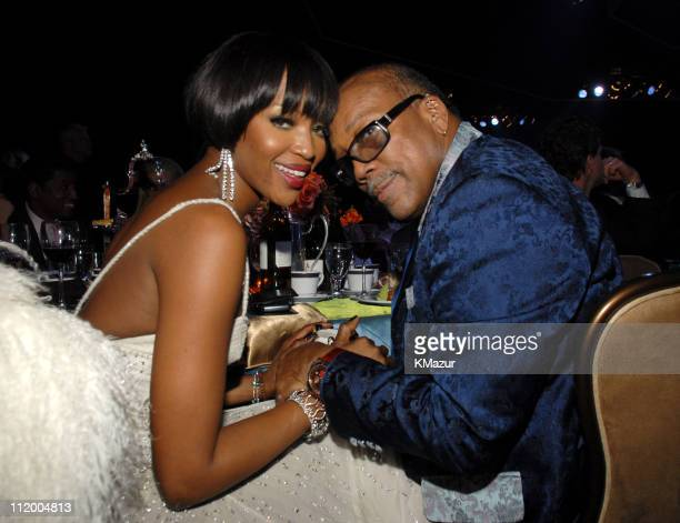 Naomi Campbell and Quincy Jones during 2007 Clive Davis PreGRAMMY Awards Party Reception and Dinner at Beverly Hills Hilton in Beverly Hills...