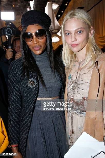 Naomi Campbell and Sasha Pivovarova attend the Christian Dior Haute Couture Spring Summer 2018 show as part of Paris Fashion Week on January 22 2018...