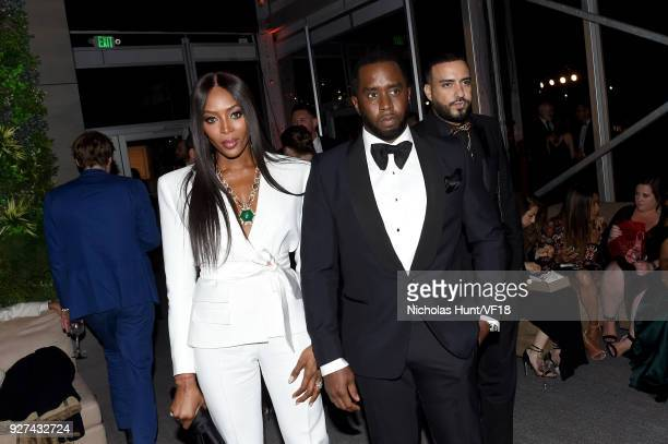 Naomi Campbell and Sean Combs attend the 2018 Vanity Fair Oscar Party hosted by Radhika Jones at Wallis Annenberg Center for the Performing Arts on...