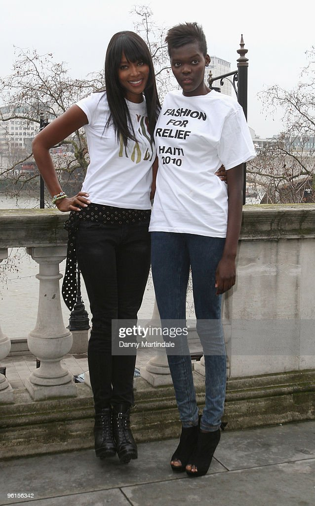 Naomi Campbell and Sheila Atim attend photocall to announce 'Fashion For Relief 2010' at Somerset House on January 25, 2010 in London, England.