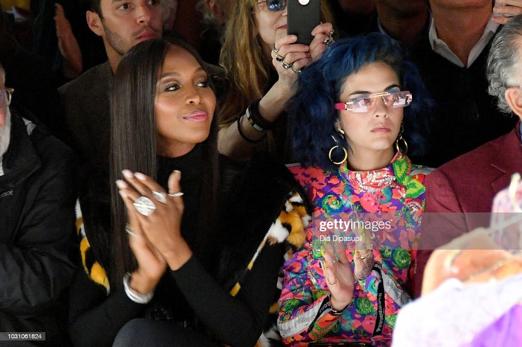 Naomi Campbell (L) and Sita Abellan attend the Anna Sui front row during New York Fashion Week: The Shows at Gallery I at Spring Studios on September 10, 2018 in New York City.