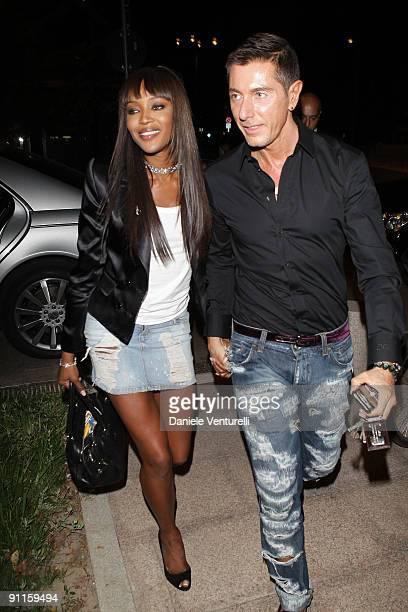 Naomi Campbell and Stefano Gabbana are seen at the Gold resturant during Milan Womenswear Fashion Week Spring/Summer 2010 on September 25 2009 in...