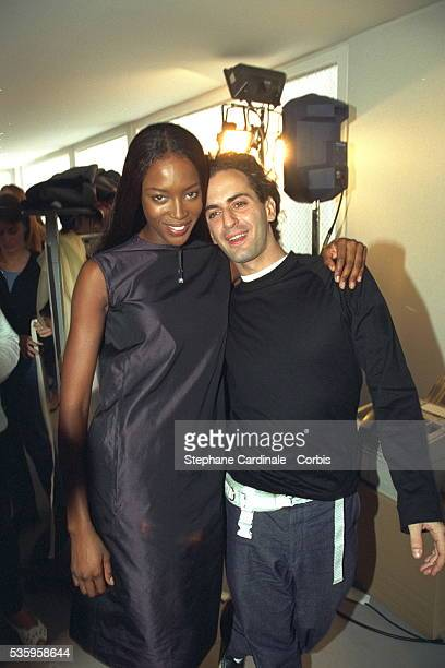 Naomi Campbell and stylist Marc Jacobs back stage at the fashion show