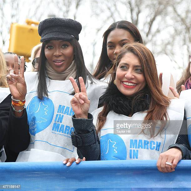 """Naomi Campbell and UN Women for Peach chair Muna Rihani al-Nasser attend the """"MARCH IN MARCH"""" to end violence against women at Dag Hammarskjold Plaza..."""