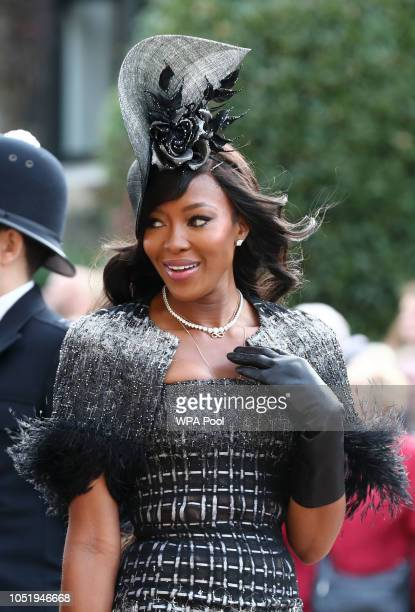 Naomi Campbell arrives ahead of the wedding of Princess Eugenie of York and Mr Jack Brooksbank at St George's Chapel on October 12 2018 in Windsor...