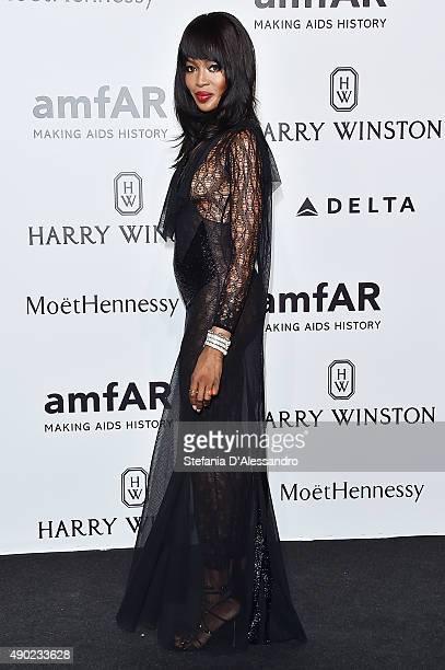 Naomi Campbell arrives at amfAR Milano 2015 at La Permanente on September 26 2015 in Milan Italy
