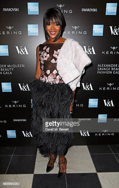 Naomi Campbell arrives at the Alexander McQueen: Savage Beauty Fashion Gala at the V&A, presented by American Express and Kering on March 12, 2015 in...